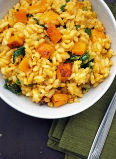 Butternut Squash and Kale Risotto - Creamy, rich, and deceptively healthy! #vegetarian