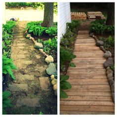 Just some old pallets really spruced up this old walkway!  DIY everybody!