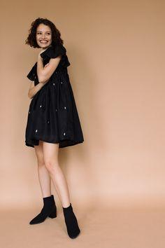 Anisha Dress – lekha Oversized Coat, Clothing Co, Babydoll Dress, Flutter Sleeve, Silk Fabric, Women Wear, Saree, Model, How To Wear