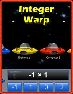 Integer Warp is a multi-player racing game that allows students from anywhere in the world to race one another while practicing multiplying integers!  Standards: 7.NS.A.2: Apply and extend previous understandings of multiplication and division and of fractions to multiply and divide rational numbers.