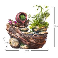 Resin Micro Landscape Indoor Decorative Water Fountain Fengshui 110V 220V
