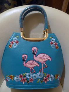 フラミンゴ柄刺繍ハンドバッグ ティールブルー 50s・ロカビリーファッション