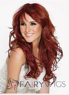 Lace Front 2013 New Long Wavy Red Remy Wigs