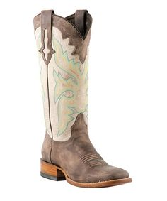 Hand-stitched detailing follows this western boot from horseman square toe to shaft. It's fashioned from genuine leather and features embellished pull-on straps and a sturdy heel.1.13'' heel12'' shaft15'' circumferencePull-onLeatherImported