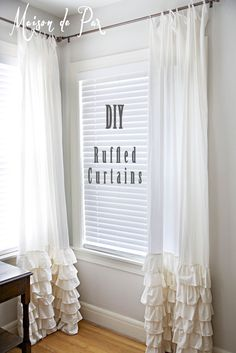 Diy ruffled curtains diy curtains diy home diy decor white cur Ruffle Curtains, White Curtains, Shower Curtains, Sewing Curtains, Nursery Curtains, Curtains For Girls Room, Lengthen Curtains, Bedroom Curtains With Blinds, Roman Curtains