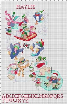 Snow Party Christmas Stocking Counted Cross Stitch