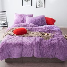 Fluffy Velvet Fleece Quilt Cover Bed Set (4/6/7 pcs) - Purple
