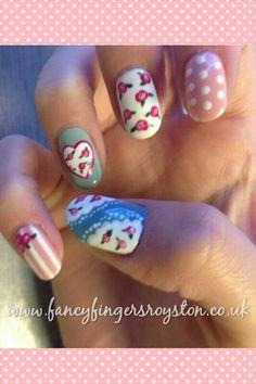 Cath kidston nail art Nail Manicure, Diy Nails, Nail Polish, Floral Designs, Nail Art Designs, Cath Kidston Nails, Pretty Nail Art, Nail Art Diy, Nail Ideas