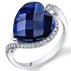 Peora 14K White Gold Heart Created Blue Sapphire Diamond Ring. Available at http://www.Brandinia.com