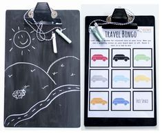 DIY travel chalkboard clipboard and free printables