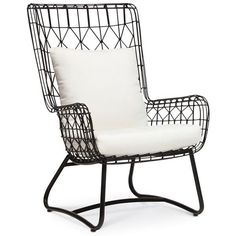 Palecek Capri Black Outdoor Wing Chair found on Polyvore featuring home, outdoors, patio furniture, outdoor chairs, black wingback chair, palecek, black patio chairs and outside patio furniture