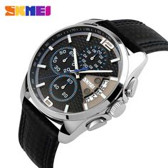 Promotion price SKMEI Men Chronograph Watch Men Sport Watch Leather Quartz-Watch Waterproof Clock Date Men's Wrist Watch relogio masculino just only $17.28 with free shipping worldwide  #menwatches Plese click on picture to see our special price for you