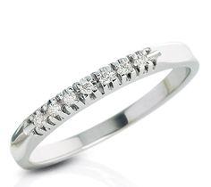 Fedina in oro bianco e diamanti modello veretta | DonnaOro  #fedi #oro #diamanti #matrimonio #fidanzamento #farina #veretta