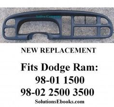 DODGE Ram Dash Board Replacement NEW Fits 9801 1500 & 98