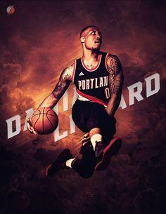 5afc496e44d0 Damian Lilliard art POSTER nba Damian Lilliard Canvas Portland nba player -  Basketball Canvas  basketballcanvas