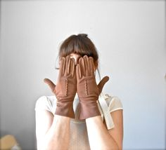 Vintage 1950s Chocolate Brown Womens Gloves by jacquelynmaria, $14.00