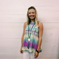 Cute and carefree in a tie-dye tank by Mamie Ruth - designed in the South! #ShopGeezLouise