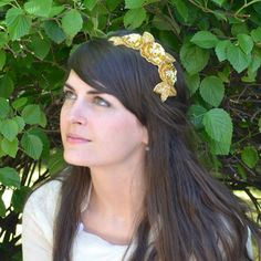 Beaded+Headband+Gold+Headband+Metallic+Beaded+by+JillsBoutique,+$28.00