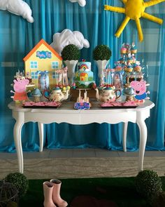 An awesome Peppa Pig Birthday for twins! Love the birthday cake! See more party ideas at CatchMyParty.com