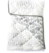 """The Taj Play Blanket from Lauren Alexandra World is unbelievably soft and adorable! Whether in the stroller or laying down in the park, your little one will always be surrounded by our classic Taj Elephant and Taj Monkey prints. Comes in a Taj Paisley drawstring pouch for easy storage. Hand quilted and hand block printed on 100% cotton voile. Blanket measures 38"""" x 28"""". $77.00 #baby #nurserydesign #bohobaby"""
