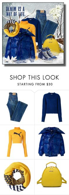 """""""Denim Fashion in Winter"""" by drahuschka ❤ liked on Polyvore featuring Levi's, Neul, Puma, Vetements, Keds, WithChic and Golden Goose"""