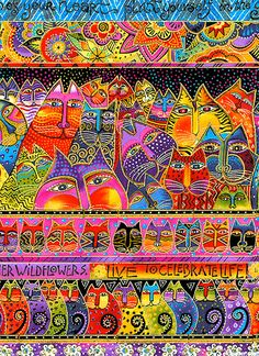 Fabric, from the 'Fabulous Felines' collection, by Laurel Burch.