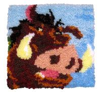 """Pumbaa latch hook pillow kit. Finished size 12x12"""". Kit comes with acrylic pre-cut rug yarn, 3.75 mesh rug canvas, color chart and easy-to-f..."""