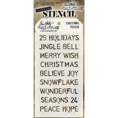 You will have a Holly Jolly Christmas when you use this NEW Tim Holtz Christmas Stencil on your projects!  Very cute and all the words you were looking for in just 1 stencil.  IN STOCK soon in our retail store and online!