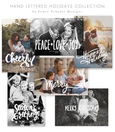 Hand Lettered Holiday Card Templates by Jamie Schultz Designs