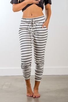 Striped Joggers | Ivory