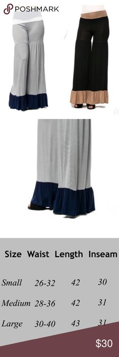 Flarred bottom pants - Grey or Black Very stylish Palazoo pants with flarred bottom and fold over waist . Available in black with taupe and grey with navy blue . Material is 95% polyester 5% spandex . Pants Boot Cut & Flare