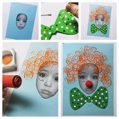 """Bastelbild """"Ich als Clown"""" – Herz Crafts stellt mich als Clown vor Kids Crafts, Clown Crafts, Carnival Crafts, Sand Crafts, Toddler Crafts, Preschool Crafts, Circus Party Favors, Circus Theme, Theme Carnaval"""