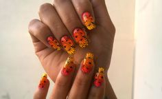 sunset ombre nails orange nails