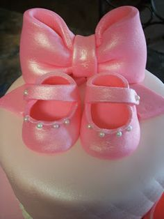 Fondant Cake Decorating How To Make Baby Girls Shoe . Pink Fondant Baby Bootie Cake Toppers Dream A Lil Dream. I Love This Cake! In 2019 Ballet Cakes . Home and Family Baby Boy Shoes, Baby Bows, Baby Booties, Ballet Cakes, Brown Crib, Front Door Christmas Decorations, Bow Cakes, Dining Room Storage, Cakes For Boys