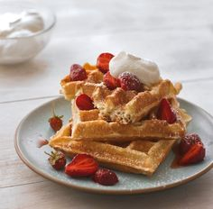 Raised Belgian Waffles with Strawberries and Whipped Cream