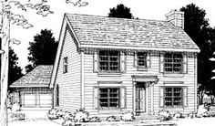 Elevation of Colonial   Saltbox   House Plan 68694