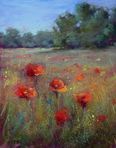 Karen Margulis / Knee Deep in Wildflowers / pastel