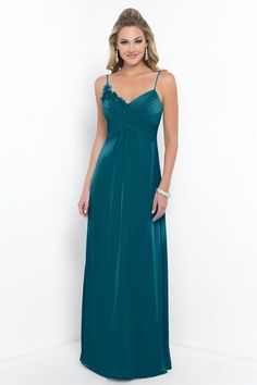 Alexia Designs style 4198: Bella Chiffon bridesmaid dress with spaghetti straps, pleated bust & floral detail.
