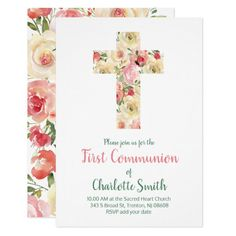 first communion watercolor flowers   holy cross invitation   Zazzle.com