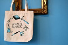 Our new tote bags, designed by the awesome Kaye Blegvad. http://shop.brooklynbrainery.com $13