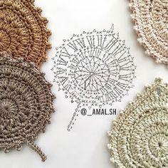 Crochet Leaf Patterns, Crochet Leaves, Form Crochet, Crochet Diagram, Crochet Chart, Crochet Motif, Crochet Designs, Crochet Doilies, Crochet Flowers