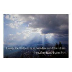 Psalm 34:4 print from Scripture Classics #zazzle #gift #photogift #Christian