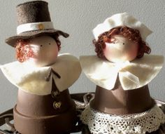 Pilgrim Couple Clay Pot People by karaskraftykreations on Etsy, $12.75