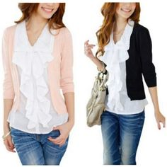 Ruched blouse and sweater set.  Modest, dressy or casual style.