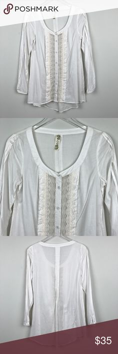 "[Free People] Lace Peasant Tunic Top Boho Gypsy S Long sleeve white button down Blouse. Pintuck and Pleat details. Lace detail down center.   Pit to Pit: 18"" Length: 28"" - 31"" Condition: Excellent pre-owned condition.  *EE3 Free People Tops Blouses"