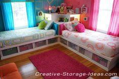Corner Twin Beds with Underbed Storage - www.creative-storage-ideas.com