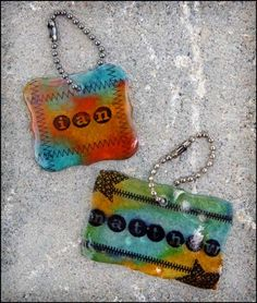 A tutorial for making key chains using stamps and shrinky dink material - a kid project