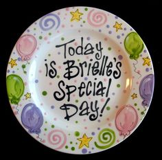 Special Day plates with balloons & stars #birthday plate