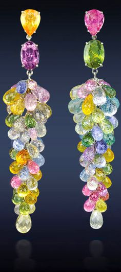 Jacob & Co., Multi-Color Sapphire Cluster Drop Earrings