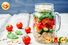 Pretty colorful salad high in fiber and proteins. #fiber #salad #vegetarian #beans #cucumber #spinach #tomatoes #fit #ideas #healthy #food #receipe #layered #pepper #cheese #feta #jar #maisonjar